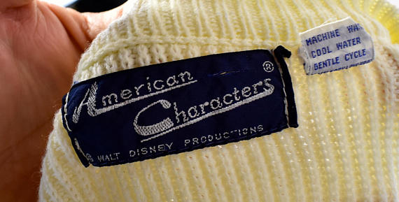 1960's Mickey Mouse Sweater by American Characters, Chenille Mickey Mouse Roller Skating, 100% Acrylic