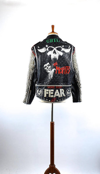 Heavily Studded Punk Jacket featuring Danzig, The Misfits and Fear - Size Medium - WORK OF ART
