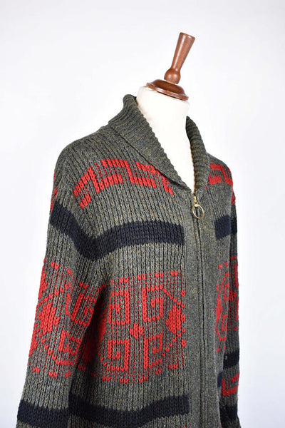 Rare 1960's Pendleton Westerly Cowichan Sweater, Big Lebowski Cardigan, Blue Tag Pendleton, Men's Large, Great Vintage Condition