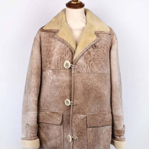 1970's OVERLAND Shearling Sheepskin Coat from Overland Sheepskin in Taos New Mexico / Size 44 / Heavy Duty Warmth // Men's Size Large