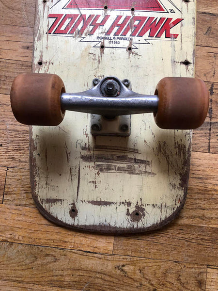 "1983 Tony Hawk Skateboard Deck with Tracker Trucks and Sims ""The Wheel II"" Wheels"