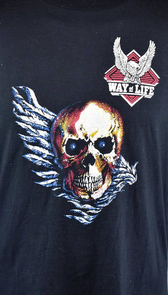 TRARE 1970's Winged Skull Collectible Harley Davidson T-Shirt, Harley Davidson A Way of Life, Size Large, 50/50 Polyester/Cotton