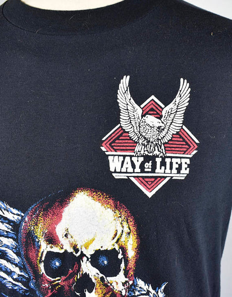 RARE 1970's Winged Skull Collectible Harley Davidson T-Shirt, Harley Davidson A Way of Life, Size Large, 50/50 Polyester/Cotton