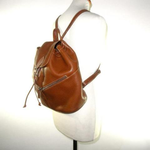 LONGCHAMP Pebble Grain Cognac Leather Bucket Backpack // Leather Purse // Shoulder Bag