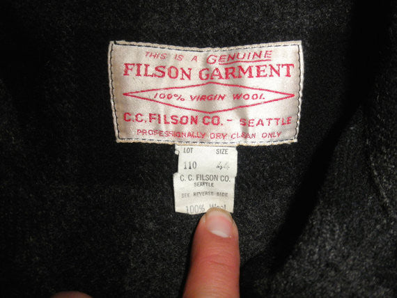 RARE Black Filson Buffalo Plaid Hunting Jacket, 100% Wool, Union Made Filson, Perfect Condition