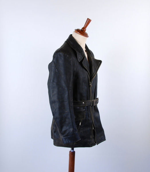 Original 1950's Horsehide Gerberel Harro West German Biker Leather Jacket, Size 48