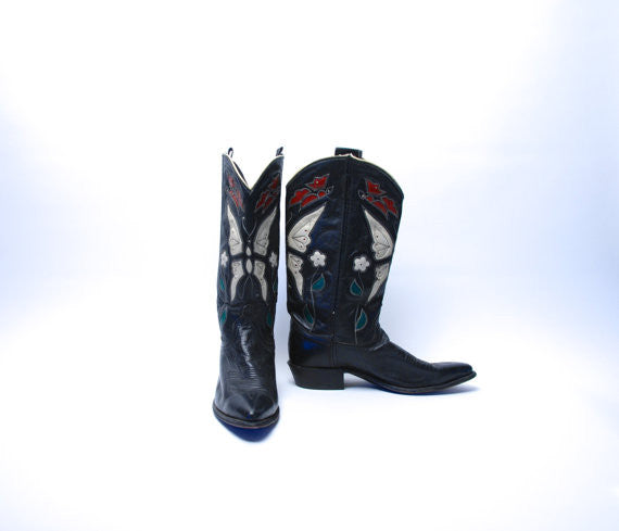 1960's Acme Handcrafted Butterfly Boots, Leather Inlay, Beautiful Calfskin, Light Wear, Women's Size 9