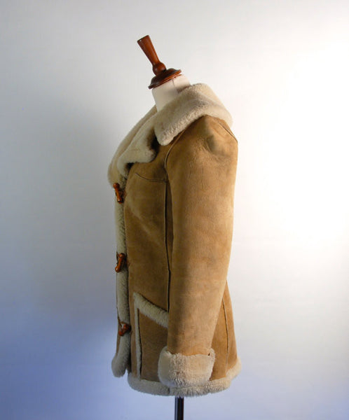 Shearling Sheepskin Pea Coat with Wooden Toggles by Leathercraft // Heavy Duty Warmth - Desert Moss
