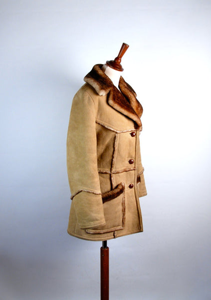 Shearling Sheepskin Pea Coat with Wooden Toggles by Leathercraft // Heavy Duty Warmth