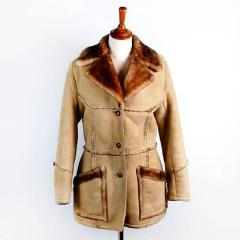 Vintage Shearling Sheepskin Pea Coat with Wooden Toggles by Leathercraft // Heavy Duty Warmth