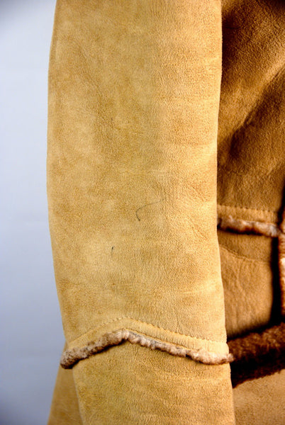 Shearling Sheepskin Pea Coat with Wooden Toggles by Leathercraft // Heavy Duty Warmth  Ask a question