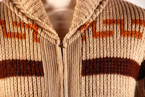 Rare 1960's Pendleton Cowichan Sweater, Big Lebowski Cardigan, Blue Tag Pendleton, Men's Medium, Great Vintage Condition