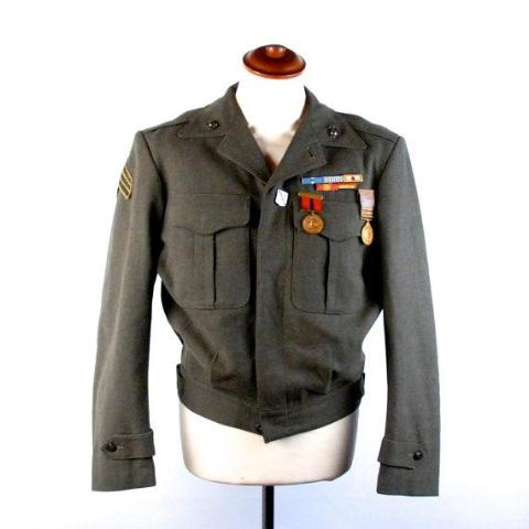 Wool U.S. Marines Korean War Era Dress Jacket and Pants, War Ribbons, General Issue Numbers and Names