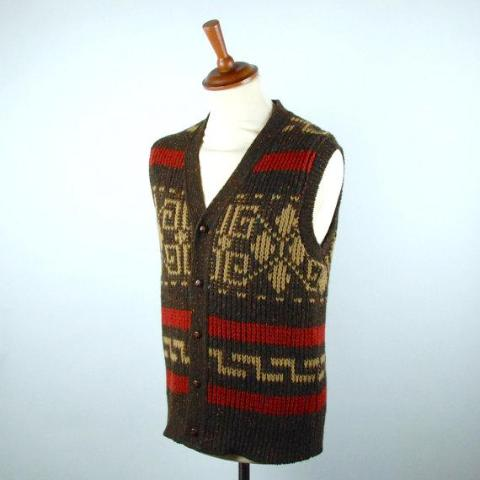 Rare Pendleton Westerly Cowichan Sweater Vest, Big Lebowski Cardigan Vest, Men's Medium, Perfect Vintage Condition