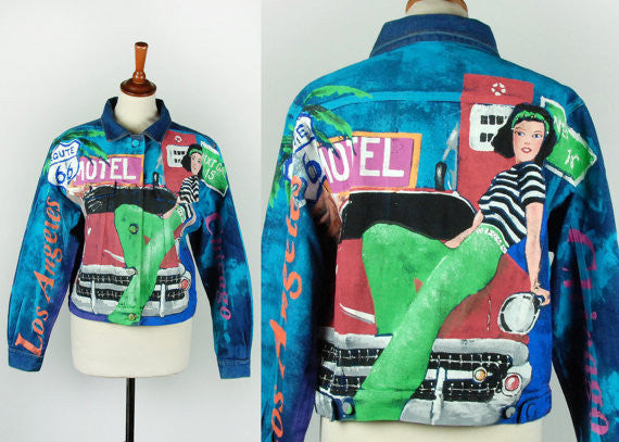 Kolorway Handpainted Denim Jacket of Route 66 - Desert Moss