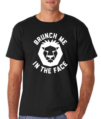"1 Brunch me in the face Men T Shirts White-T Shirts-Gildan-Black-S To Fit Chest 36-38"" (91-96cm)-a-Daataadirect"