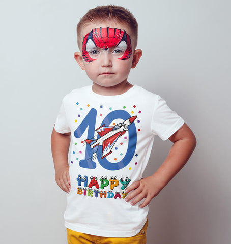 10th Happy Birthday Jet fighter plane Funny Gift Present Kids T Shirts-Gildan-Daataadirect.co.uk