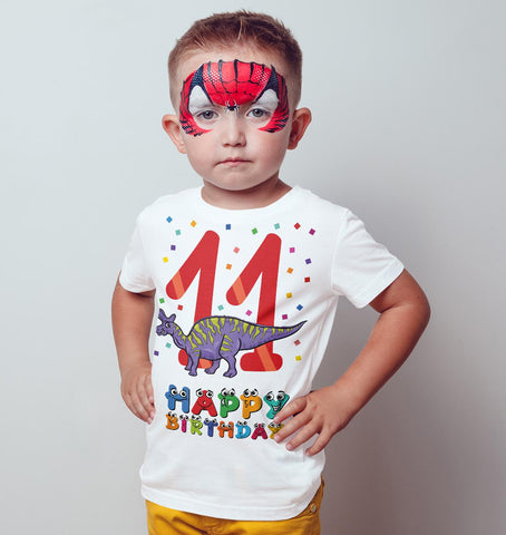 11th Happy Birthday Stegosaurus Dino Funny Gift Present Kids T Shirts-Gildan-Daataadirect.co.uk