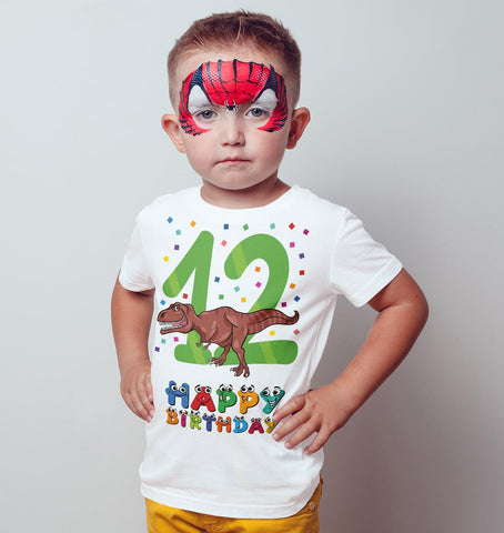 12th Happy Birthday Dinosaur Dino T Rex Funny Gift Present Kids T Shirts-Gildan-Daataadirect.co.uk