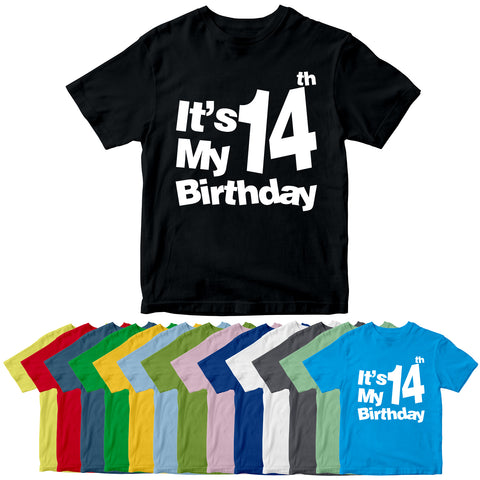 It's My 14th Birthday T-Shirt Customized Birthday Year Kid's T-Shirts-Gildan-Daataadirect.co.uk