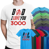 Dad I Love You 3000 Captain America Mens T-Shirt-Gildan-Daataadirect.co.uk