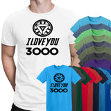 Iron Man I Love You 3000 Avengers Mens T-Shirt-Gildan-Daataadirect.co.uk