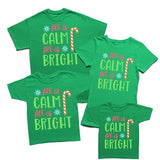 All is Calm All is Bright Christmas Family Matching T-Shirts-Gildan-Daataadirect.co.uk
