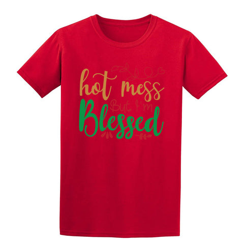 Hot mess but i'm blessed Christmas T-Shirt-Gildan-Daataadirect.co.uk