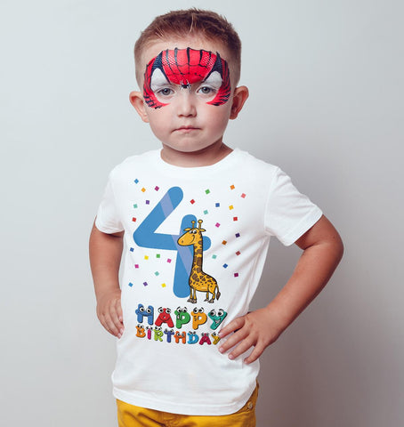 4th Happy Birthday Giraffe Funny Gift Present Kids T Shirts-Gildan-Daataadirect.co.uk