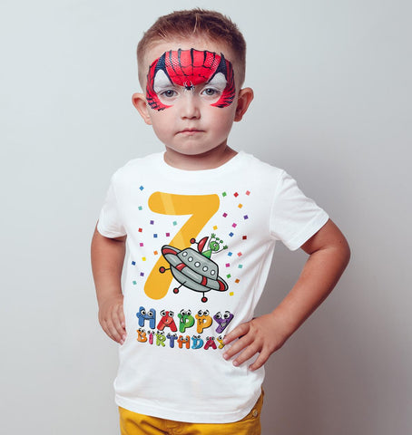 7th Happy Birthday Spaceship Ant Funny Gift Present Kids T Shirts-Gildan-Daataadirect.co.uk