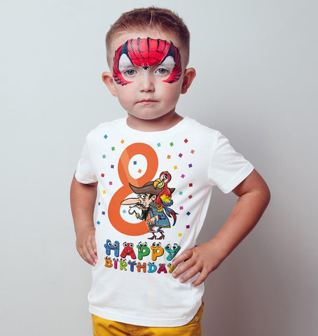 8th Happy Birthday Pirate parrot Funny Gift Present Kids T Shirts-Gildan-Daataadirect.co.uk
