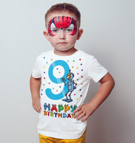 9th Happy Birthday Robot Funny Gift Present Kids T Shirts-Gildan-Daataadirect.co.uk