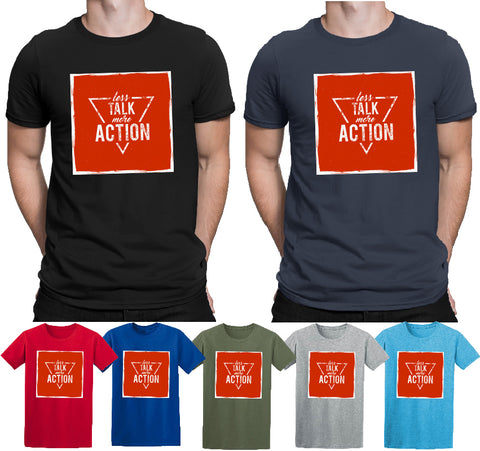 Inspirational Quotes Less Talk More Action T-Shirts-Gildan-Daataadirect.co.uk
