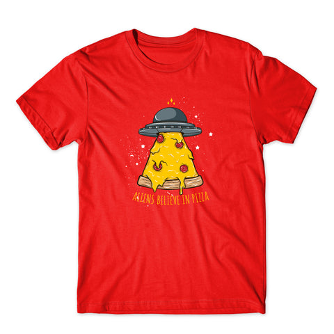 Aliens Believe In Pizza Fast Food Cartoon T-Shirt-Gildan-Daataadirect.co.uk