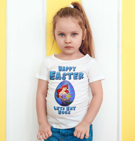 Easter Kids T Shirts Ariel Easter Egg Happy Easter Lets Eat Eggs Mock Kids Tees-Gildan-Daataadirect.co.uk