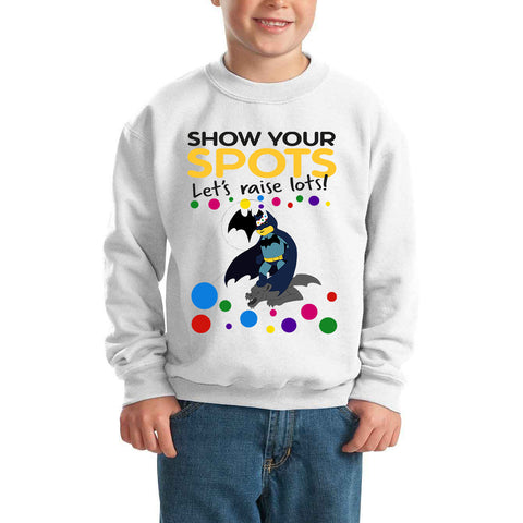 Batman Cosmic Hero Pudsey Bear Spotty Day - Kids SweatShirt-Gildan-Daataadirect.co.uk