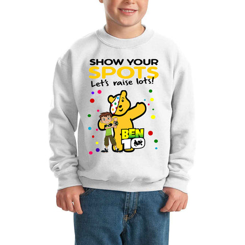BEN10 Pudsey Bear Spotty Day - Kids SweatShirt-Gildan-Daataadirect.co.uk