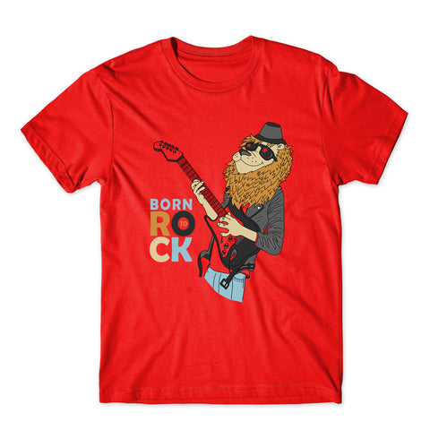 Born To Rock Cute Lion Funny Animals T-Shirt-Gildan-Daataadirect.co.uk