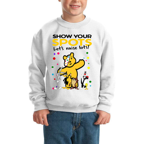 The Bugs Bunny Show Pudsey Bear Spotty Day - Kids SweatShirt-Gildan-Daataadirect.co.uk