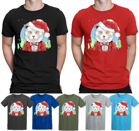Christmas Party Gift T-Shirt Cat Santa Clause Secret Santa Elf Top T-shirt Mens T Shirts