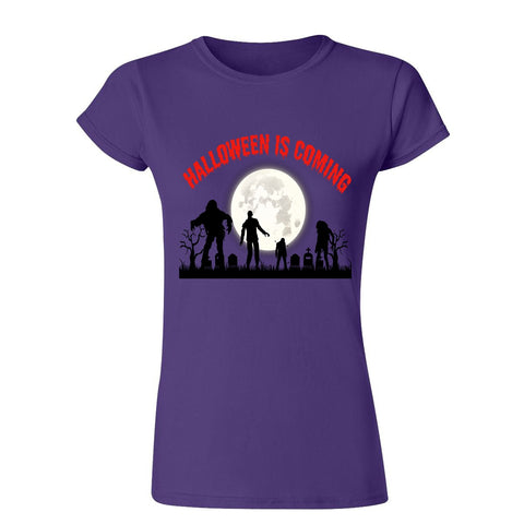 Creepy Moon Halloween is Coming Womens T Shirts-Gildan-Daataadirect.co.uk