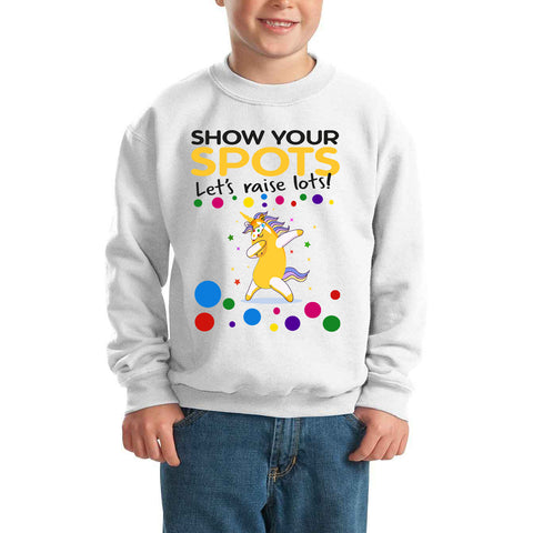 Yellow Unicorn Dabbing Flossing Pudsey Bear Spotty Day - Kids SweatShirt-Gildan-Daataadirect.co.uk