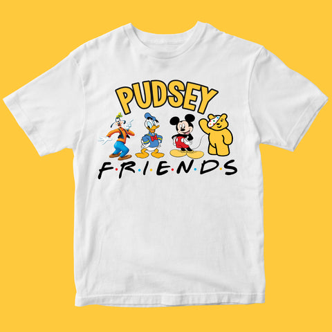 Charity Cartoons Pudsey Bear Kids T-shirt Friends-Gildan-Daataadirect.co.uk