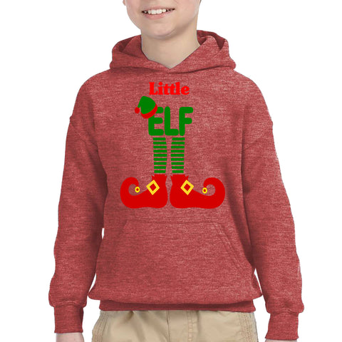 ELF Little Christmas Santa Claus Helper Kids Hoodies Heather Sport Scarlet Red YXL
