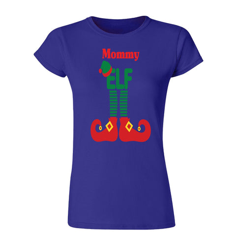 ELF Mommy Christmas Santa Claus Helper Womens T Shirts-Gildan-Daataadirect.co.uk
