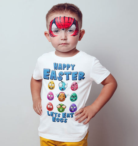 Easter Eggs Emoji Happy Easter Lets Eat eggs Kids T Shirts-Gildan-Daataadirect.co.uk