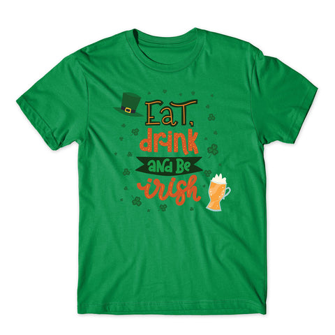 Eat Drink And Be Irish Funny St Patrick's Day 2020 T-Shirt-Gildan-Daataadirect.co.uk