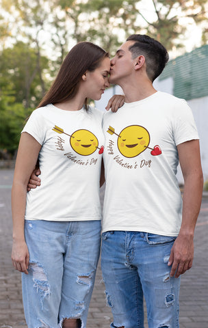 Valentines Day 2020 Funny Emoticons Faces T-Shirt-Gildan-Daataadirect.co.uk