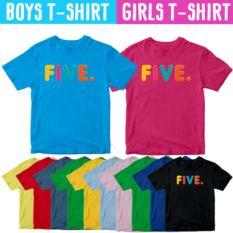 5th Birthday Shirts for Boys Girls 5 Kids Gift Idea Five Year Birthday T-shirt-Gildan-Daataadirect.co.uk