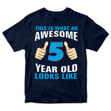 Birthday Gift Kid's T-Shirt Awesome 5 Year Old Boys T-Shirt-Gildan-Daataadirect.co.uk